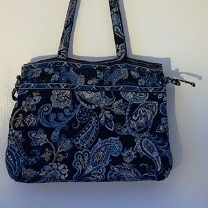 "VERA BRADLEY RETIRED ""WINDSOR NAVY"" TIE TOTE"